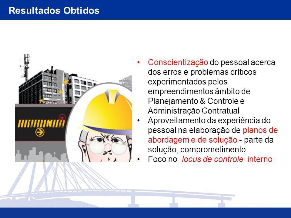 Conscientização do pessoal acerca dos erros e problemas críticos experimentados pelos empreendimentos âmbito de Planejamento & Controle e Administraçã