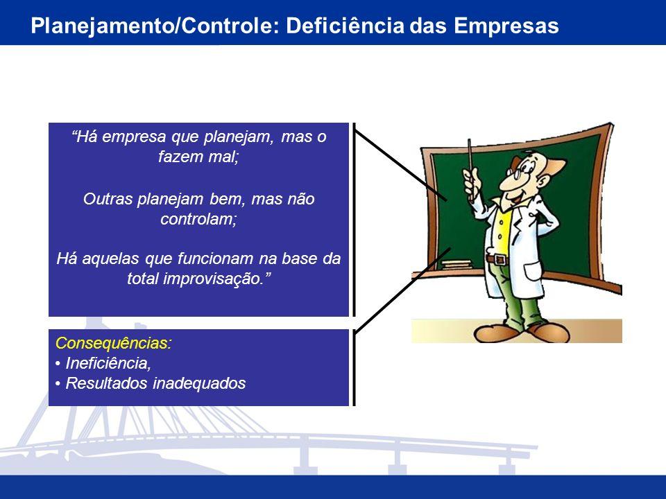 Planejamento/Controle: Deficiência das Empresas Há empresa que planejam, mas o fazem mal; Outras planejam bem, mas não controlam; Há aquelas que funcionam na base da total improvisação.
