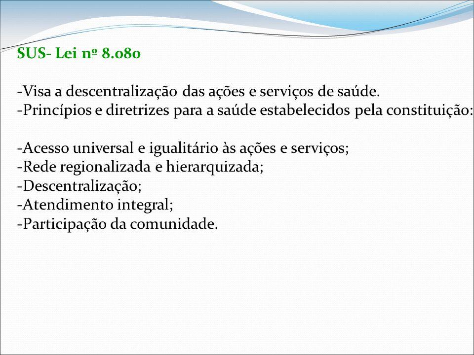 SUS- Lei nº 8.080 -Visa a descentralização das ações e serviços de saúde. -Princípios e diretrizes para a saúde estabelecidos pela constituição: -Aces
