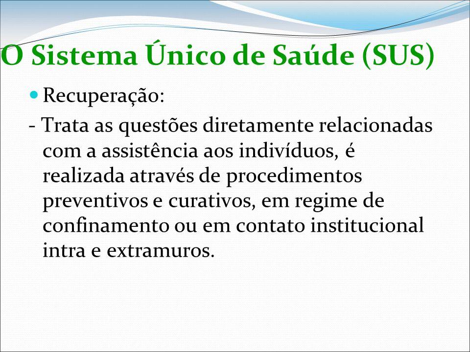 O Sistema Único de Saúde (SUS) Recuperação: - Trata as questões diretamente relacionadas com a assistência aos indivíduos, é realizada através de proc