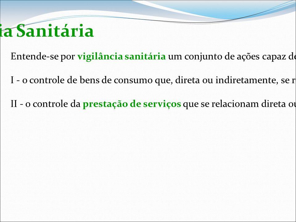 Vigilância Sanitária Entende-se por vigilância sanitária um conjunto de ações capaz de eliminar, diminuir ou prevenir riscos à saúde e de intervir nos