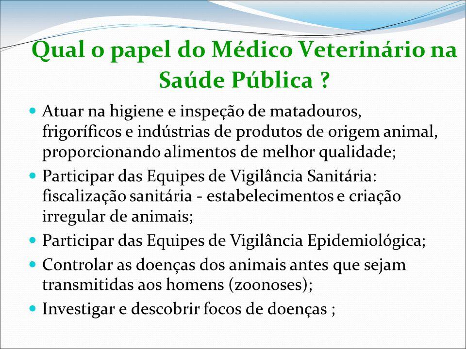 Qual o papel do Médico Veterinário na Saúde Pública ? Atuar na higiene e inspeção de matadouros, frigoríficos e indústrias de produtos de origem anima