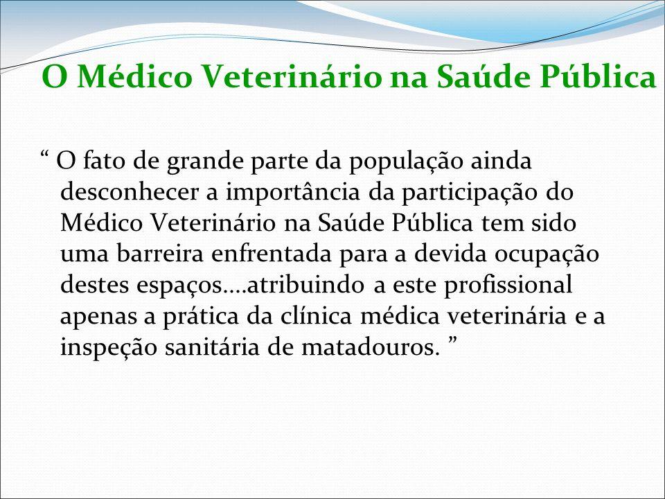 O Médico Veterinário na Saúde Pública O fato de grande parte da população ainda desconhecer a importância da participação do Médico Veterinário na Saú