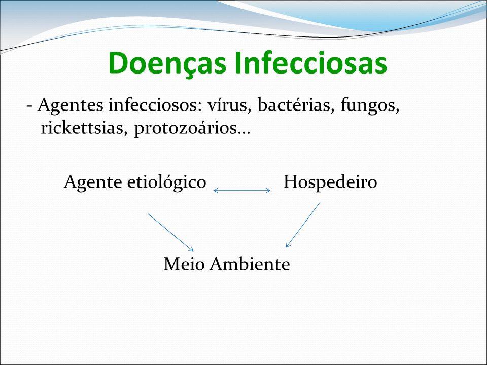 Doenças Infecciosas - Agentes infecciosos: vírus, bactérias, fungos, rickettsias, protozoários... Agente etiológico Hospedeiro Meio Ambiente