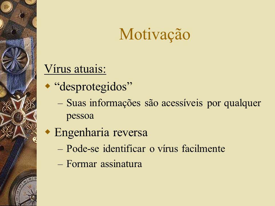 Motivação Vírus atuais: desprotegidos – Suas informações são acessíveis por qualquer pessoa Engenharia reversa – Pode-se identificar o vírus facilment