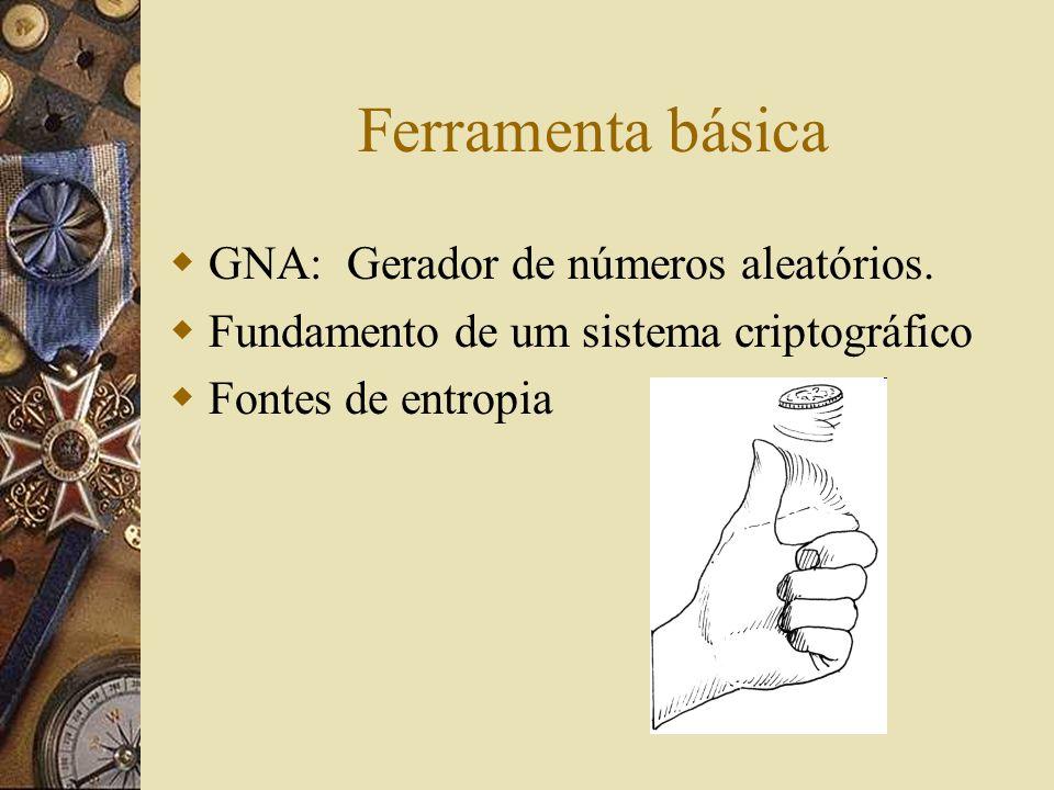 Ferramenta básica GNA: Gerador de números aleatórios. Fundamento de um sistema criptográfico Fontes de entropia
