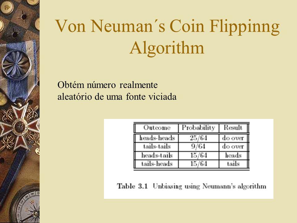 Von Neuman´s Coin Flippinng Algorithm Obtém número realmente aleatório de uma fonte viciada