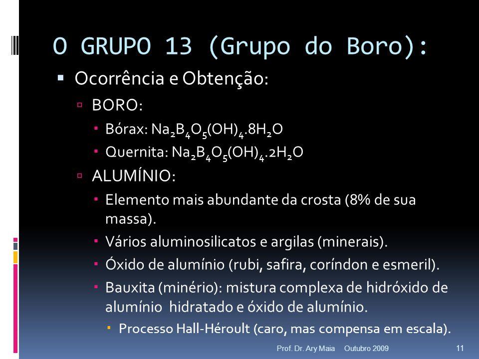 O GRUPO 13 (Grupo do Boro): Ocorrência e Obtenção: BORO: Bórax: Na 2 B 4 O 5 (OH) 4.8H 2 O Quernita: Na 2 B 4 O 5 (OH) 4.2H 2 O ALUMÍNIO: Elemento mai