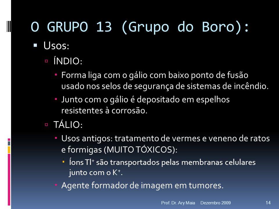 O GRUPO 13 (Grupo do Boro): Usos: ÍNDIO: Forma liga com o gálio com baixo ponto de fusão usado nos selos de segurança de sistemas de incêndio. Junto c