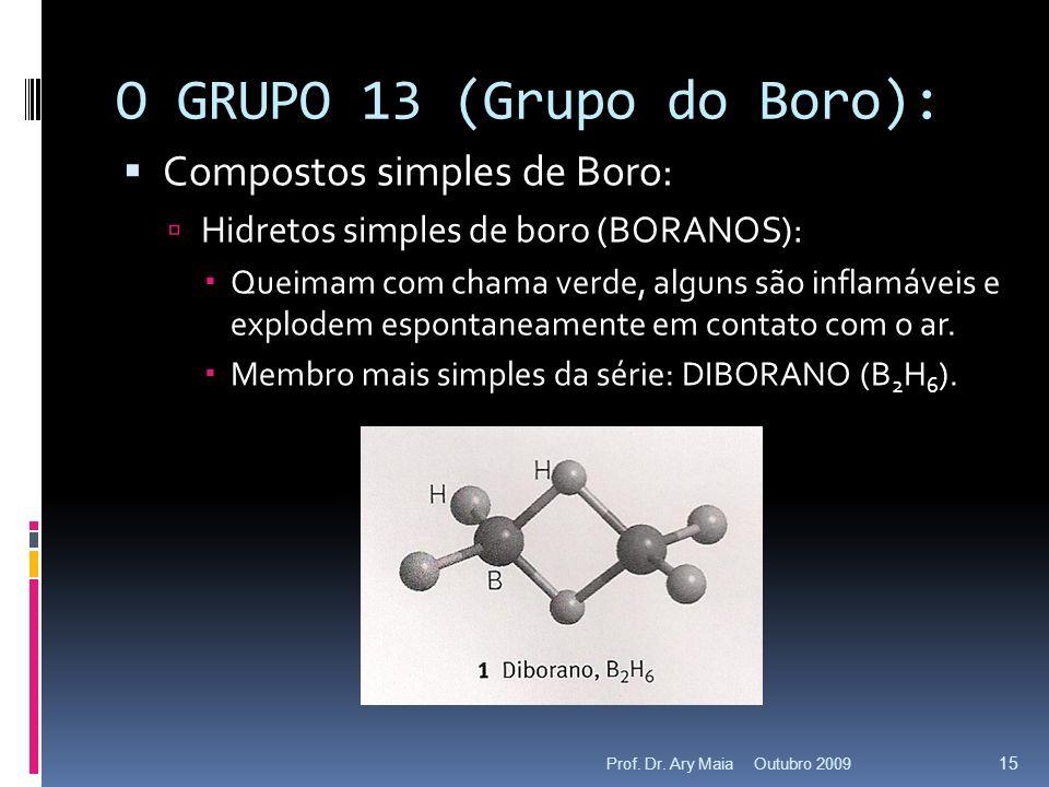 O GRUPO 13 (Grupo do Boro): Compostos simples de Boro: Hidretos simples de boro (BORANOS): Queimam com chama verde, alguns são inflamáveis e explodem