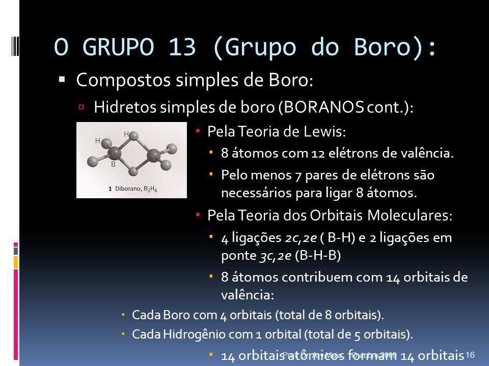 O GRUPO 13 (Grupo do Boro): Compostos simples de Boro: Hidretos simples de boro (BORANOS cont.): Pela Teoria de Lewis: 8 átomos com 12 elétrons de val