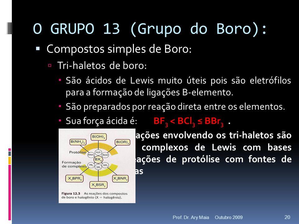 O GRUPO 13 (Grupo do Boro): Compostos simples de Boro: Tri-haletos de boro: São ácidos de Lewis muito úteis pois são eletrófilos para a formação de li