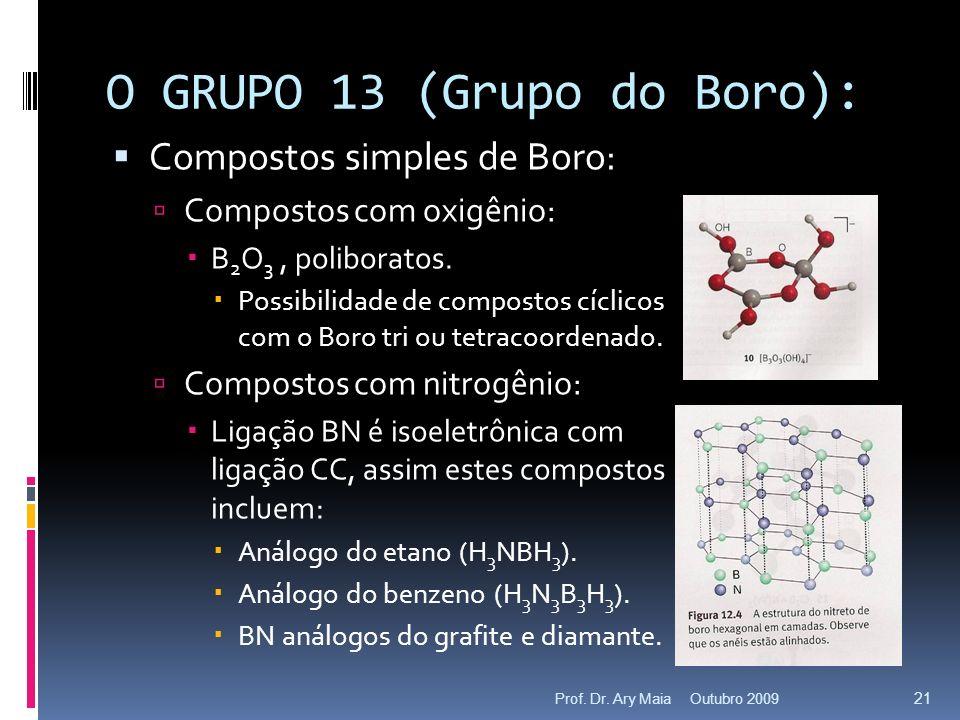 O GRUPO 13 (Grupo do Boro): Compostos simples de Boro: Compostos com oxigênio: B 2 O 3, poliboratos. Possibilidade de compostos cíclicos com o Boro tr