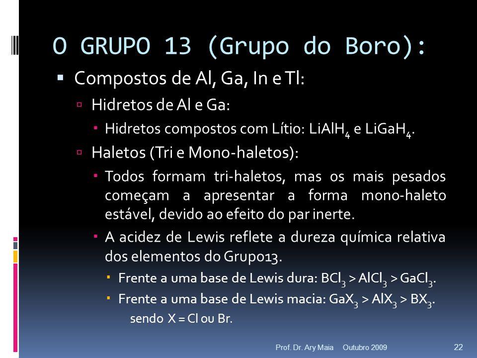 O GRUPO 13 (Grupo do Boro): Compostos de Al, Ga, In e Tl: Hidretos de Al e Ga: Hidretos compostos com Lítio: LiAlH 4 e LiGaH 4. Haletos (Tri e Mono-ha