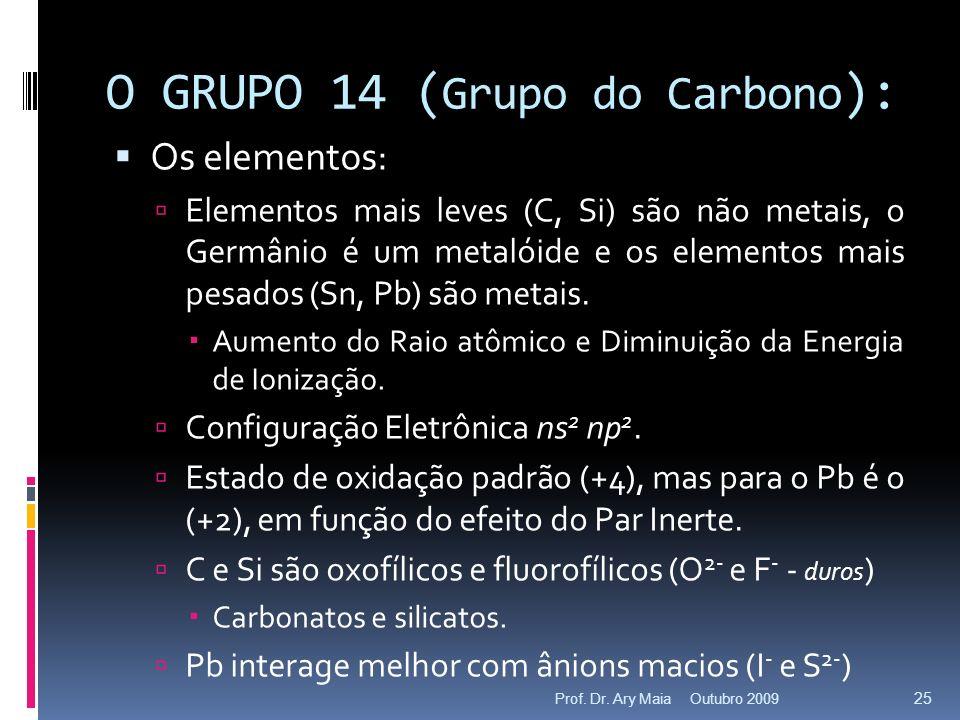 O GRUPO 14 ( Grupo do Carbono ): Os elementos: Elementos mais leves (C, Si) são não metais, o Germânio é um metalóide e os elementos mais pesados (Sn,