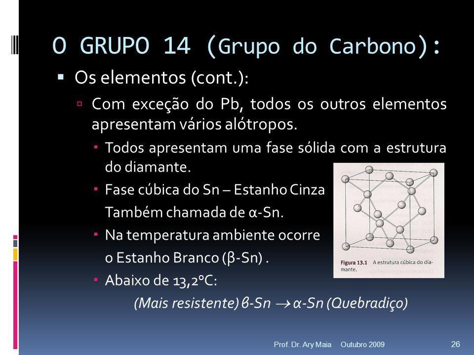 O GRUPO 14 ( Grupo do Carbono ): Os elementos (cont.): Com exceção do Pb, todos os outros elementos apresentam vários alótropos. Todos apresentam uma