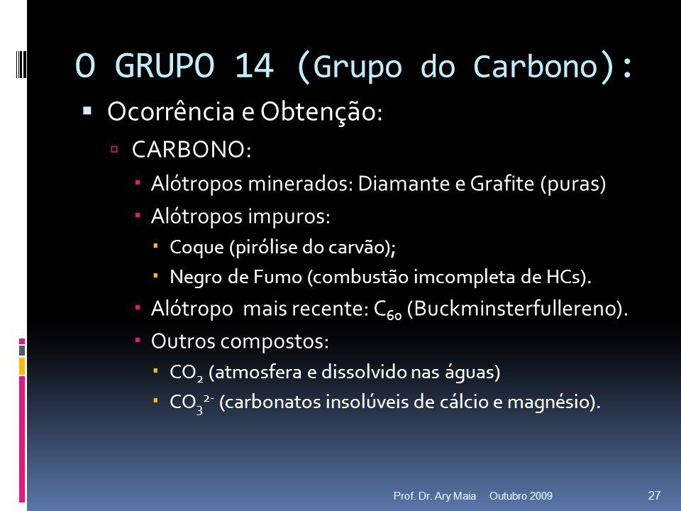 O GRUPO 14 ( Grupo do Carbono ): Ocorrência e Obtenção: CARBONO: Alótropos minerados: Diamante e Grafite (puras) Alótropos impuros: Coque (pirólise do