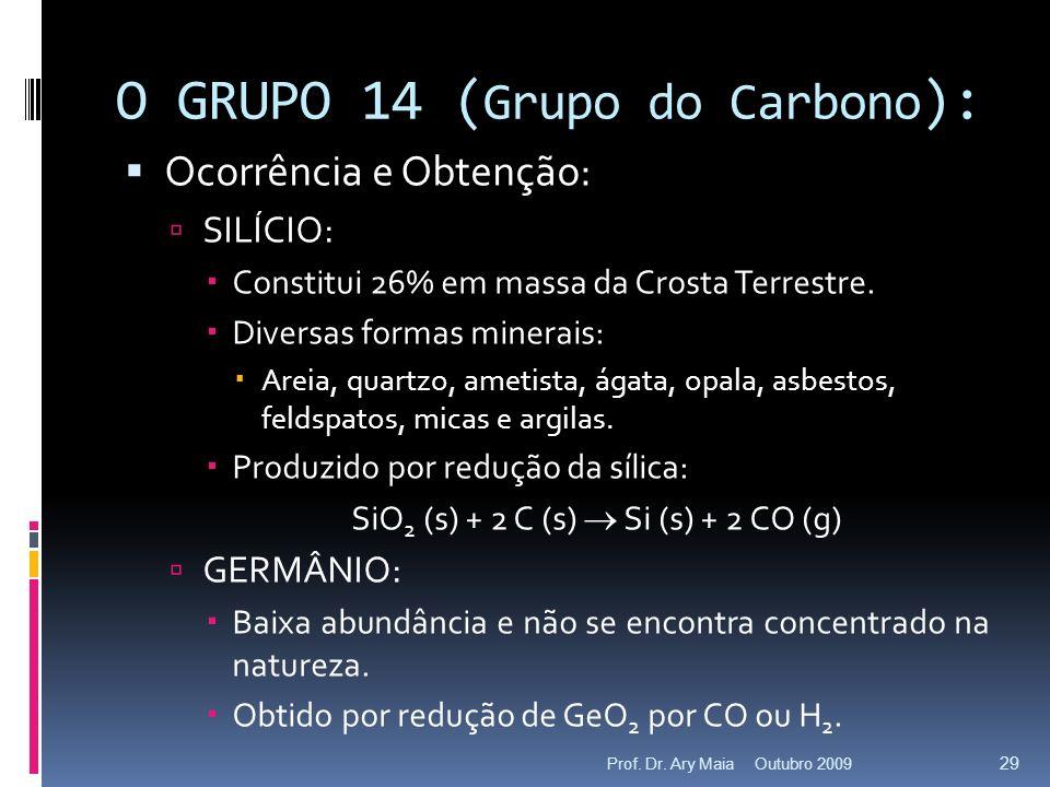 O GRUPO 14 ( Grupo do Carbono ): Ocorrência e Obtenção: SILÍCIO: Constitui 26% em massa da Crosta Terrestre. Diversas formas minerais: Areia, quartzo,