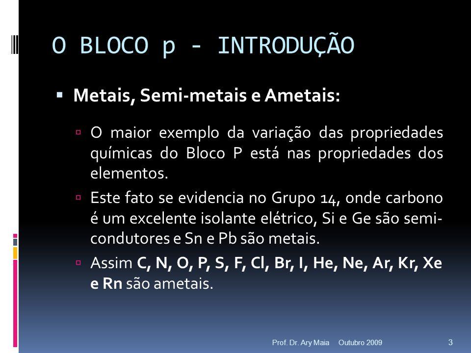 O BLOCO p - INTRODUÇÃO Metais, Semi-metais e Ametais: O maior exemplo da variação das propriedades químicas do Bloco P está nas propriedades dos eleme