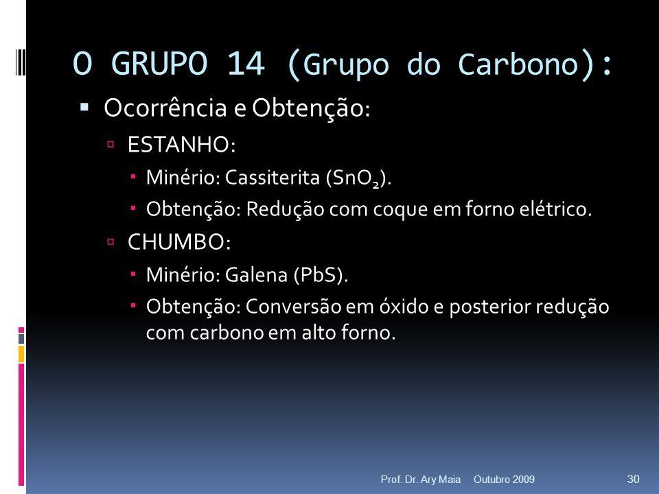 O GRUPO 14 ( Grupo do Carbono ): Ocorrência e Obtenção: ESTANHO: Minério: Cassiterita (SnO 2 ). Obtenção: Redução com coque em forno elétrico. CHUMBO: