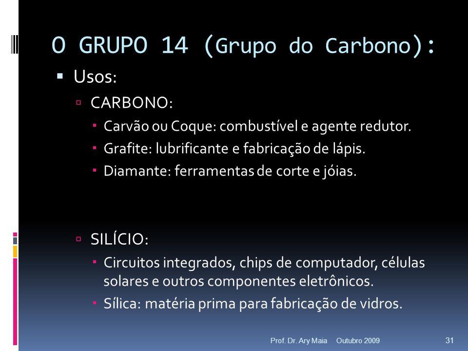 O GRUPO 14 ( Grupo do Carbono ): Usos: CARBONO: Carvão ou Coque: combustível e agente redutor. Grafite: lubrificante e fabricação de lápis. Diamante:
