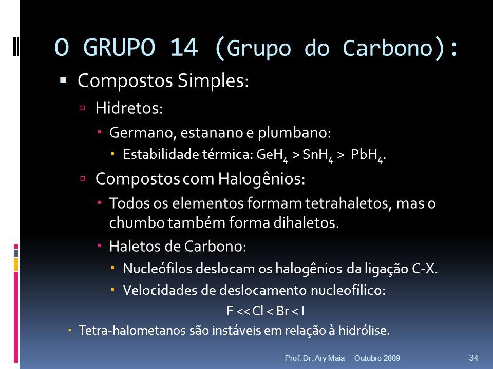 O GRUPO 14 ( Grupo do Carbono ): Compostos Simples: Hidretos: Germano, estanano e plumbano: Estabilidade térmica: GeH 4 > SnH 4 > PbH 4. Compostos com