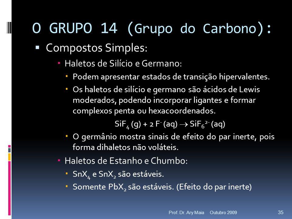 O GRUPO 14 ( Grupo do Carbono ): Compostos Simples: Haletos de Silício e Germano: Podem apresentar estados de transição hipervalentes. Os haletos de s