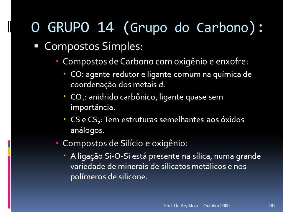 O GRUPO 14 ( Grupo do Carbono ): Compostos Simples: Compostos de Carbono com oxigênio e enxofre: CO: agente redutor e ligante comum na química de coor