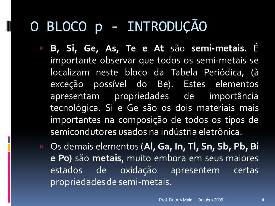 O BLOCO p - INTRODUÇÃO Dentre os metais é importante frisar o comportamento do In e Tl (Grupo 13), Sn e Pb (Grupo 14) e Sb e Bi (Grupo 15) que apresentam dois estados de oxidação (principalmente o último elemento de cada par).