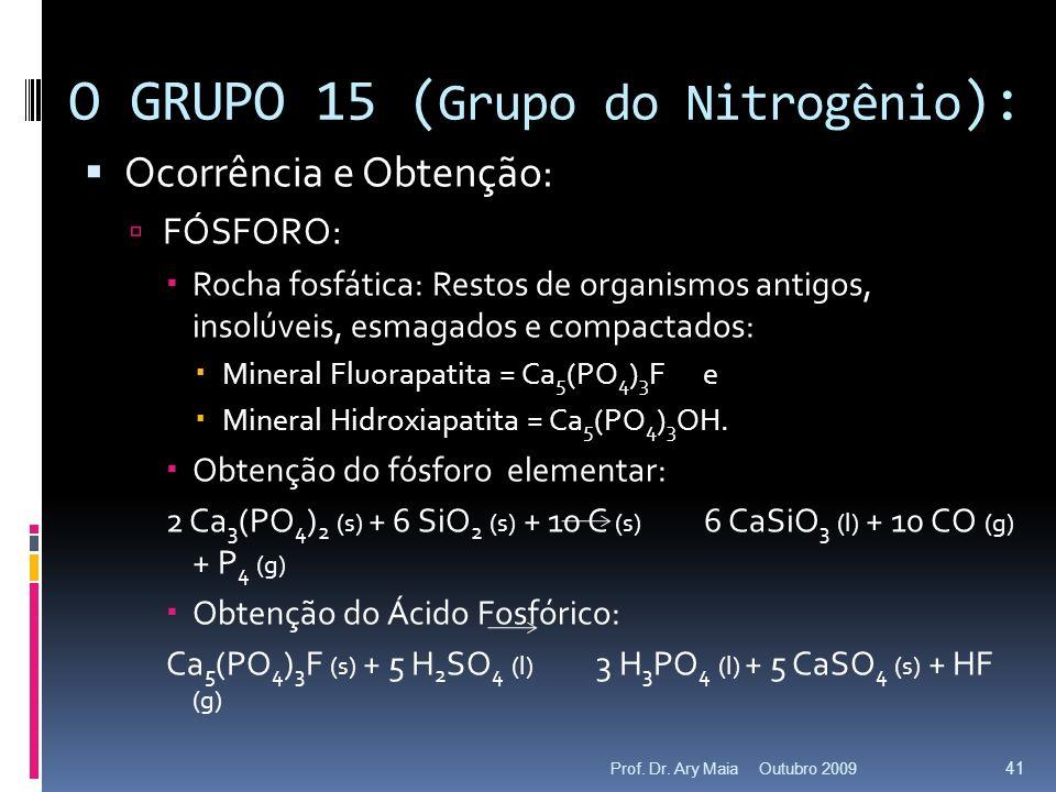 Ocorrência e Obtenção: FÓSFORO: Rocha fosfática: Restos de organismos antigos, insolúveis, esmagados e compactados: Mineral Fluorapatita = Ca 5 (PO 4