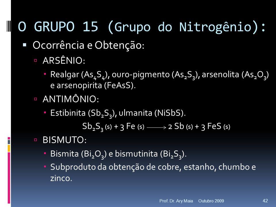 Ocorrência e Obtenção: ARSÊNIO: Realgar (As 4 S 4 ), ouro-pigmento (As 2 S 3 ), arsenolita (As 2 O 3 ) e arsenopirita (FeAsS). ANTIMÔNIO: Estibinita (