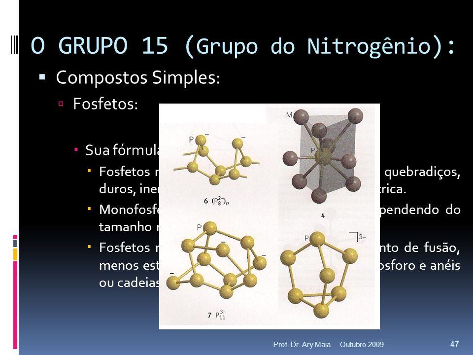 Compostos Simples: Fosfetos: n M + m P M n P m Sua fórmula varia de M 4 P até MP 15. Fosfetos ricos em metal (M:P > 1): refratários, quebradiços, duro