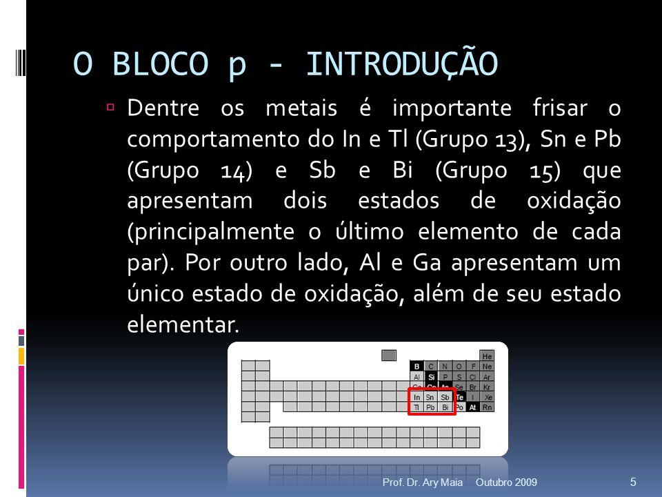 O BLOCO p - INTRODUÇÃO Dentre os metais é importante frisar o comportamento do In e Tl (Grupo 13), Sn e Pb (Grupo 14) e Sb e Bi (Grupo 15) que apresen