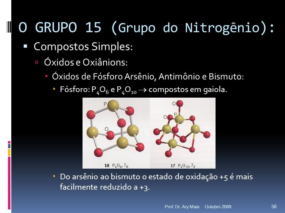 Compostos Simples: Óxidos e Oxiânions: Óxidos de Fósforo Arsênio, Antimônio e Bismuto: Fósforo: P 4 O 6 e P 4 O 10 compostos em gaiola. Do arsênio ao