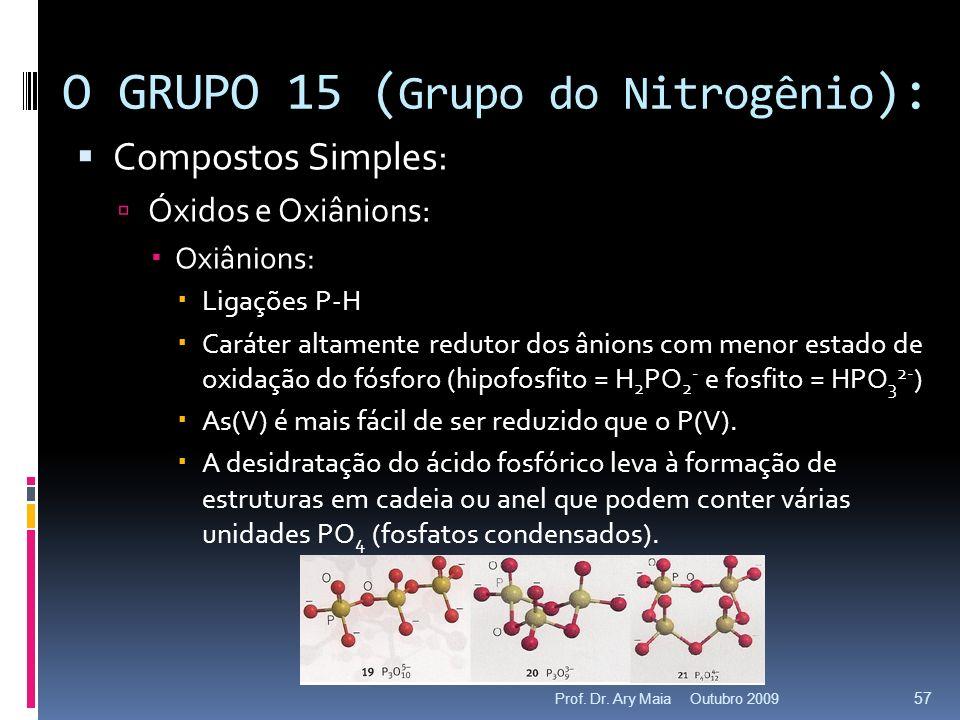 Compostos Simples: Óxidos e Oxiânions: Oxiânions: Ligações P-H Caráter altamente redutor dos ânions com menor estado de oxidação do fósforo (hipofosfi
