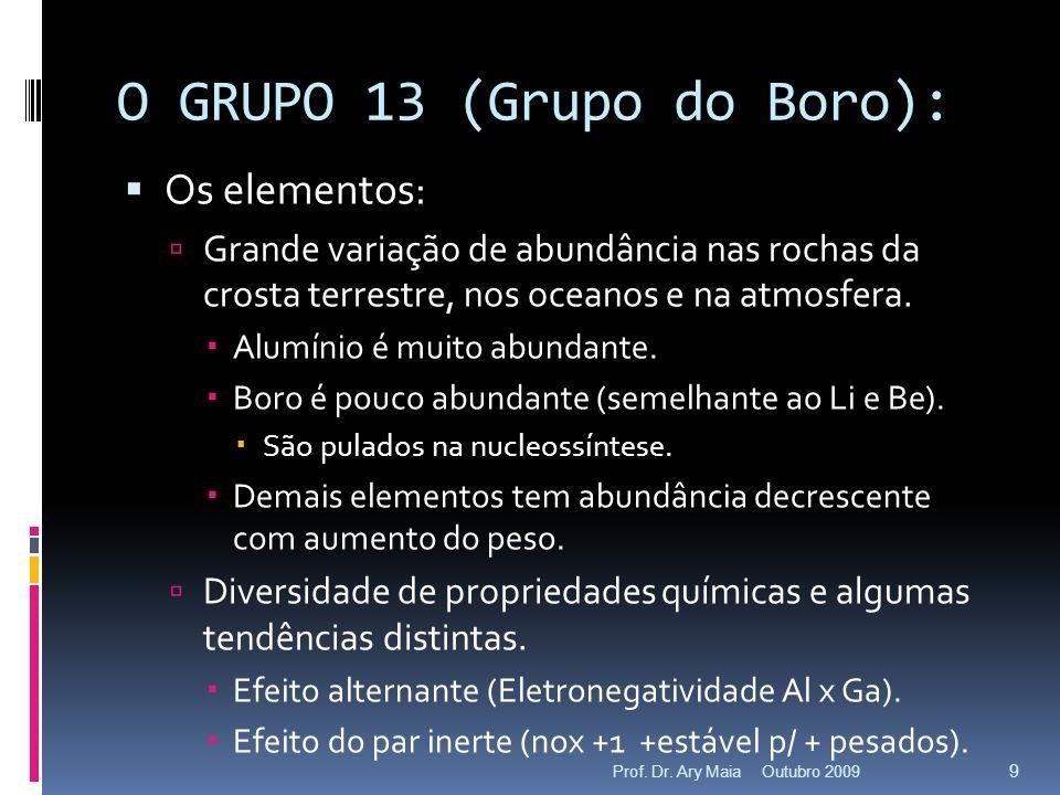 O GRUPO 13 (Grupo do Boro): Os elementos: Grande variação de abundância nas rochas da crosta terrestre, nos oceanos e na atmosfera. Alumínio é muito a