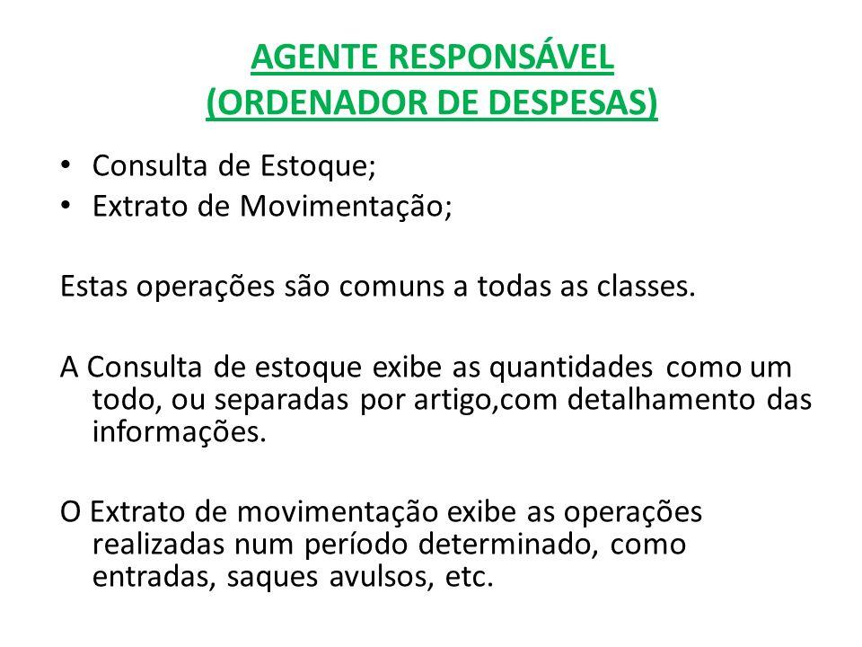 AGENTE RESPONSÁVEL (ORDENADOR DE DESPESAS) Consulta de Estoque; Extrato de Movimentação; Estas operações são comuns a todas as classes. A Consulta de