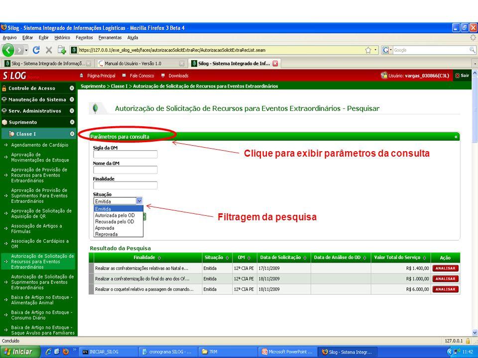 Clique para exibir parâmetros da consulta Filtragem da pesquisa