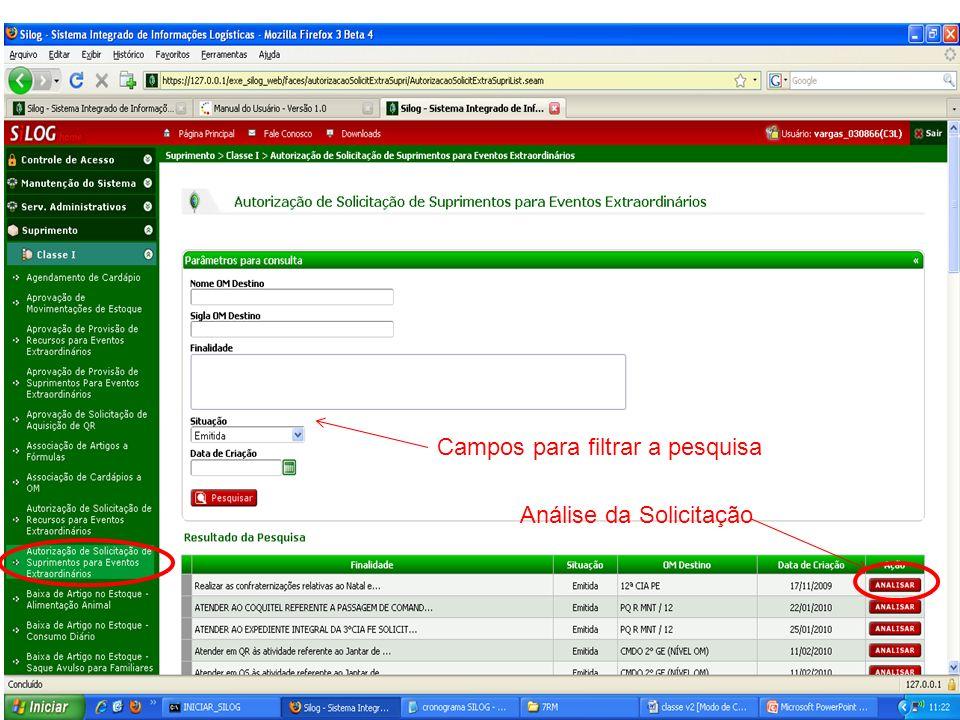 Análise da Solicitação Campos para filtrar a pesquisa