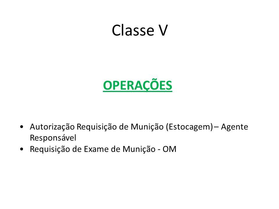 OPERAÇÕES Autorização Requisição de Munição (Estocagem) – Agente Responsável Requisição de Exame de Munição - OM Classe V