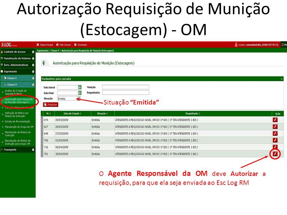 O Agente Responsável da OM deve Autorizar a requisição, para que ela seja enviada ao Esc Log RM Autorização Requisição de Munição (Estocagem) - OM Sit