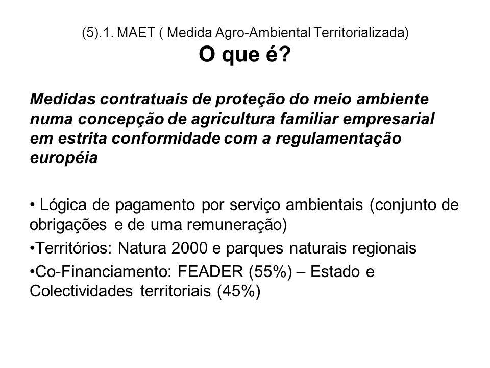 (5).1. MAET ( Medida Agro-Ambiental Territorializada) O que é? Medidas contratuais de proteção do meio ambiente numa concepção de agricultura familiar