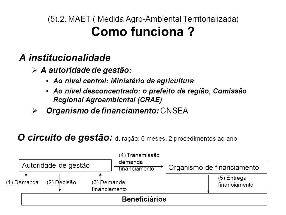 (5).2. MAET ( Medida Agro-Ambiental Territorializada) Como funciona ? A institucionalidade A autoridade de gestão: Ao nível central: Ministério da agr