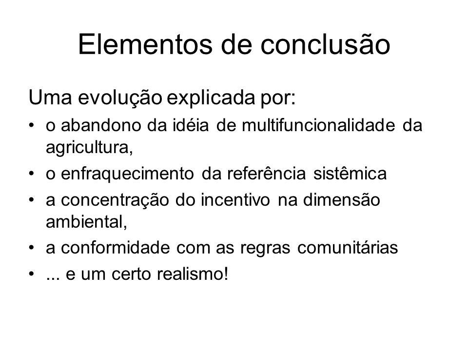 Elementos de conclusão Uma evolução explicada por: o abandono da idéia de multifuncionalidade da agricultura, o enfraquecimento da referência sistêmic