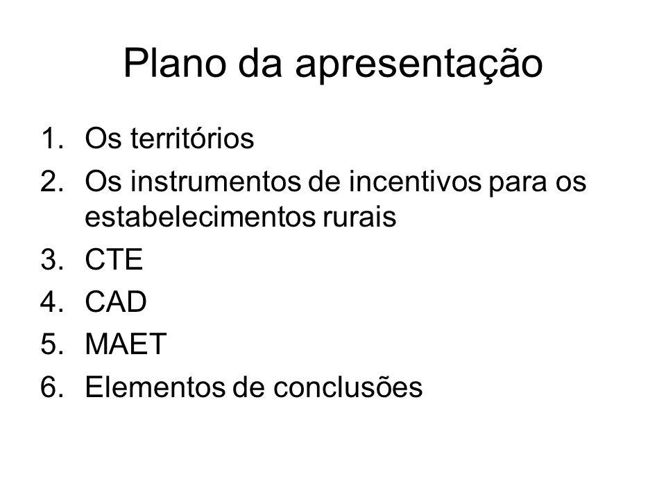 Plano da apresentação 1.Os territórios 2.Os instrumentos de incentivos para os estabelecimentos rurais 3.CTE 4.CAD 5.MAET 6.Elementos de conclusões