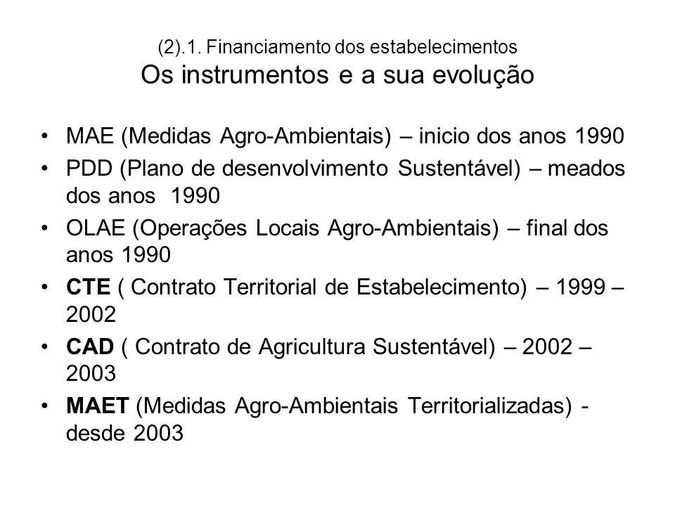 (2).1. Financiamento dos estabelecimentos Os instrumentos e a sua evolução MAE (Medidas Agro-Ambientais) – inicio dos anos 1990 PDD (Plano de desenvol