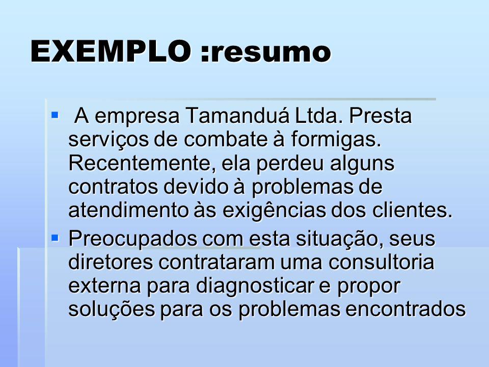 EXEMPLO :resumo A empresa Tamanduá Ltda. Presta serviços de combate à formigas. Recentemente, ela perdeu alguns contratos devido à problemas de atendi