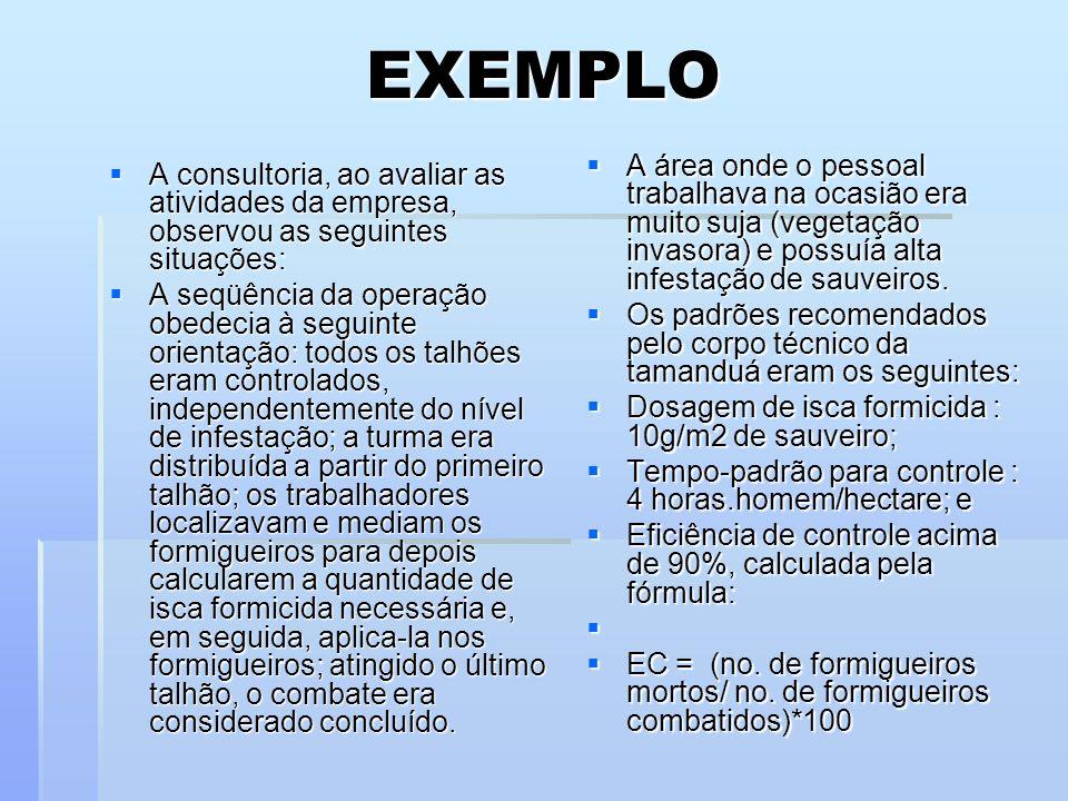 EXEMPLO A consultoria, ao avaliar as atividades da empresa, observou as seguintes situações: A consultoria, ao avaliar as atividades da empresa, obser