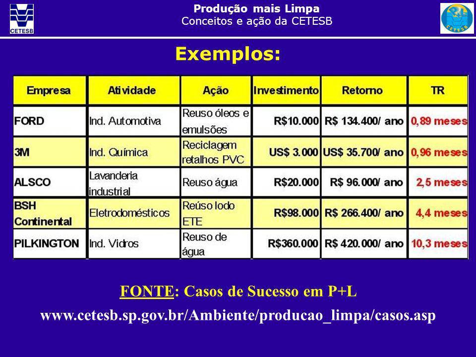 Produção mais Limpa Conceitos e ação da CETESB FONTE: Casos de Sucesso em P+L www.cetesb.sp.gov.br/Ambiente/producao_limpa/casos.asp Exemplos: