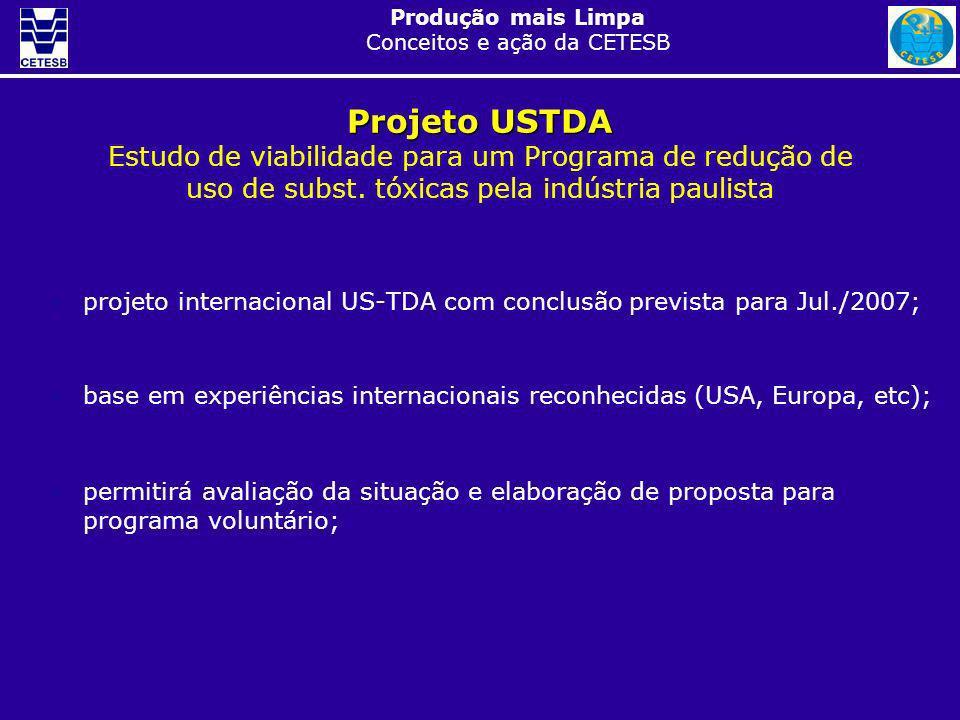 Produção mais Limpa Conceitos e ação da CETESB projeto internacional US-TDA com conclusão prevista para Jul./2007; base em experiências internacionais